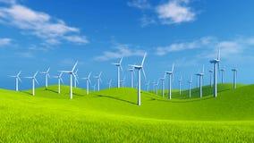 Windkraftanlagen auf grünen Hügeln am sonnigen Tag lizenzfreie abbildung