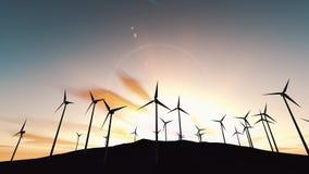 Windkraftanlagen bei Sonnenaufgang Fragen von Ökologie und von Energieeinsparung stock abbildung