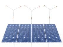 Windkraftanlagen 3d und Sonnenkollektoren, alternative Energie Stockbild