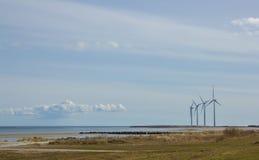 Windkraftanlagen in der Beschaffenheit von Dänemark Stockfotografie