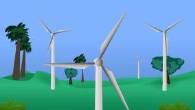 Windkraftanlagen des grünen Feldes mit Baumvideoanimation stock abbildung