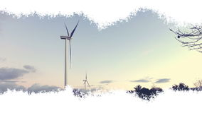 Windkraftanlagen, die in einem lebhaften Effekt mit einer ausgebreiteten Spur der Tinte - blauer Himmel, Panoramablick erscheinen lizenzfreie abbildung