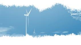 Windkraftanlagen, die in einem lebhaften Effekt mit einer ausgebreiteten Spur der Tinte - blauer Himmel, Panoramablick erscheinen vektor abbildung