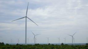 Windkraftanlagen drehen sich in die Manioka, die Bereiche pflanzt stock video footage