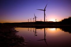 Windkraftanlagen an einem Windpark Lizenzfreies Stockfoto