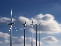 Windkraftanlagen mit Himmel und Wolken auf Hintergrund stockfoto