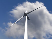 Windkraftanlagen mit Himmel und Wolken auf Hintergrund lizenzfreie stockbilder