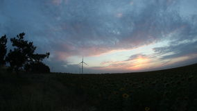 Windkraftanlagen mit Stromleitung im Sonnenuntergang stock video footage