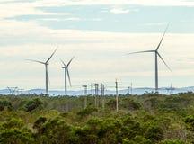 Windkraftanlagen mit Wolken im Hintergrund und Bäumen im Vordergrund Lizenzfreie Stockbilder