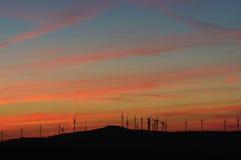 Windkraftanlagesonnenuntergang Stockbild