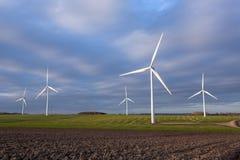 Windkraftanlagewindpark auf dem Gebiet mit Wolken des blauen Himmels lizenzfreie stockfotografie