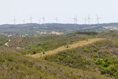 Windlandbouwbedrijf in Aljezur royalty-vrije stock fotografie