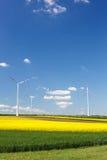 Windlandbouwbedrijf met het spinnen van windturbines Stock Afbeeldingen
