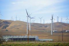 Windlandbouwbedrijven in de woestijn stock foto
