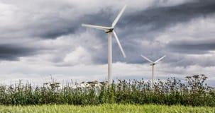 Windlandbouwbedrijven in Schotland - de windturbines verstrekken elektriciteits groene energie voor huishoudens in het UK stock foto