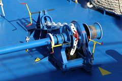 Windlass on Technical Deck of Passenger Ship. Windlass on Technical Deck of Passenger Ship Stock Image
