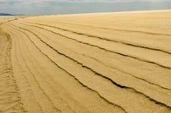 Windlijnen op het zandduin - perspectief Stock Afbeeldingen