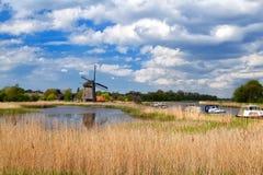 Windmühle über blauem Himmel in Alkmaar Lizenzfreie Stockbilder