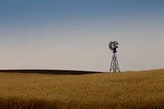 Windmühle auf einem Graslandbauernhof Stockfotografie