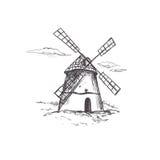 Windmühle Bäckereishopsammlung Vektorhand gezeichnet Laptop- und Blinkenleuchte lizenzfreie abbildung