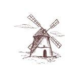 Windmühle Bäckereishopsammlung Vektorhand gezeichnete Abbildung vektor abbildung