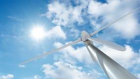 Windmühle gegen Zeitspannewolken stock abbildung