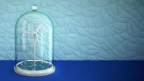 Windmühle im Meer unter Glasbirne auf Tabelle 3d 4K vektor abbildung
