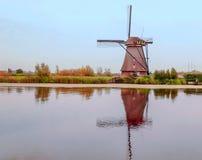 Windmühle in Kinderdijk Stockbild