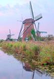 Windmühle in Kinderdijk in der Vertikale Stockbilder