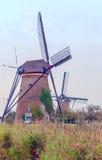 Windmühle in Kinderdijk in der Vertikale Stockbild