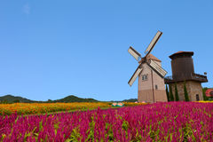 Windmühle mit blauem Himmel Stockbild