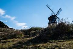 Windmühle und silbernes Gras Lizenzfreies Stockfoto