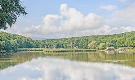 Windmühle und watermill nahe Wassersee, grüner Wald Lizenzfreies Stockbild