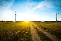 Windmühlen auf dem Feld bei Sonnenuntergang Lizenzfreies Stockfoto