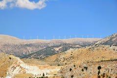 Windmühlen auf einem Ridge Stockfoto