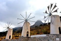 Windmühlen auf Lasithi-Hochebene, Kreta Stockfoto