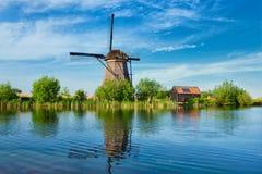 Windmühlen bei Kinderdijk in Holland netherlands Lizenzfreies Stockfoto