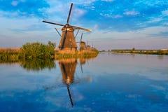 Windmühlen bei Kinderdijk in Holland netherlands Stockfoto