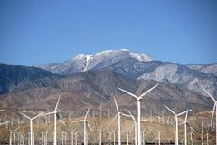 Windmühlen des Bergs San Jacinto Stockbild