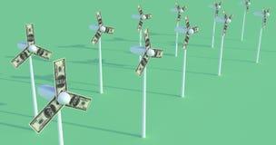 Windmühlen. Dollar. Geld. Energie. Lizenzfreie Stockfotografie