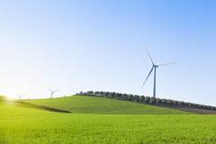 Windmühlen in einer Landschaft von Andalusien, Spanien Stockfotos