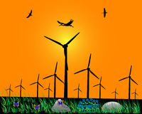 Windmühlen für Energie Lizenzfreie Abbildung