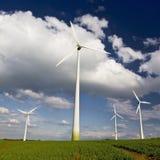 Windmühlen gegen einen blauen Himmel Lizenzfreie Stockbilder