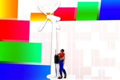 Windmühlen-Illustration der Frauen-3d Lizenzfreie Stockfotos