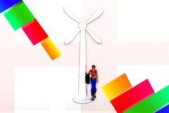 Windmühlen-Illustration der Frauen-3d Lizenzfreie Stockfotografie