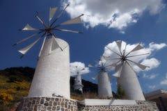 Windmühlen in Kreta Stockfoto