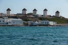 Windmühlen in Mykonos Stockbild