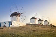 Windmühlen, Mykonos, Griechenland Lizenzfreies Stockbild