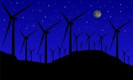 Windmühlen nachts Stockfotos