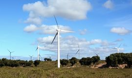 Windmühlen nahe Essaouira Marokko Stockbilder